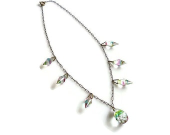 Art Deco Necklace, Iris Glass, Rainbow Glass, Crystal Briolette, Antique Jewelry