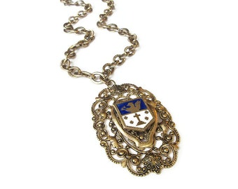 Vintage Necklace, Enamel Shield, Family Crest, Griffin and Cross, Gold Tone Filigree, Chunky Wide, Statement Necklace