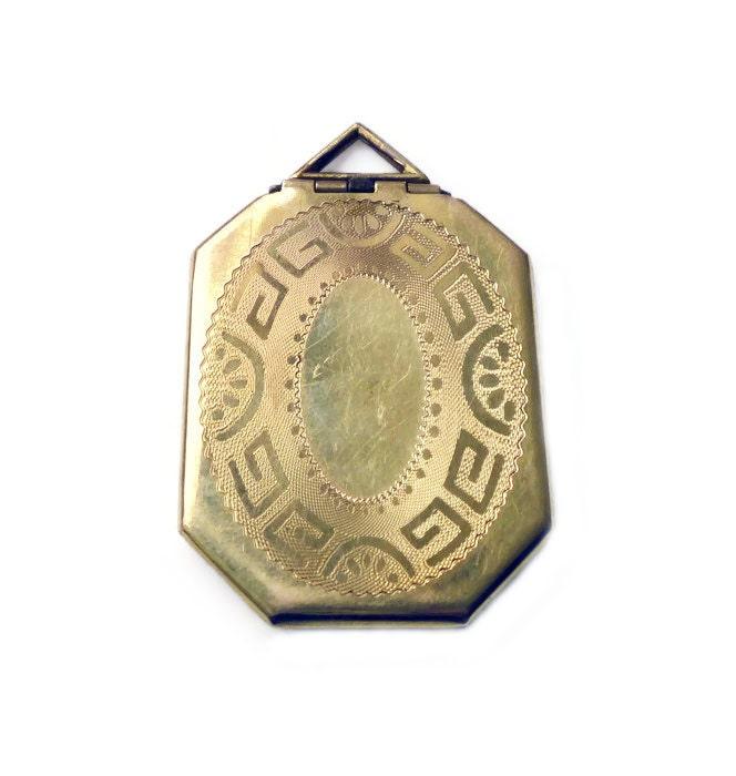 Art Deco Locket Gold Filled Embossed Greek Key Octagon