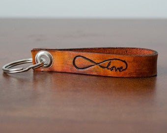 Love Always Infinity Leather Keychain - Accessory, Anniversary Gift, Custom Keychain, Wedding Gift,