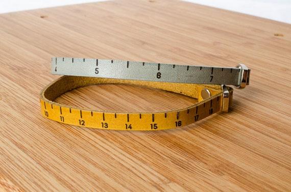 Inch Ruler Measurment Custom Skinny Adjustable Leather Bracelet