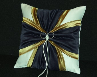 Navy Blue & Gold Accent  White or Ivory Wedding Ring Bearer Pillow