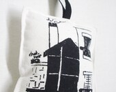 French Pin pillow. Screen Print Cushion. Large Handmade French Cushion. Original Drawing. Black. French Scene. Room with a View Paris.