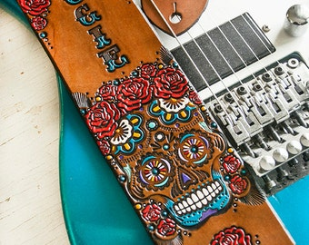 Custom Leather Guitar Strap - Acoustic or Electric - Roses and Sugar Skull Floral Design - Mexicali, Day of the Dead, Flower - Hand Painted