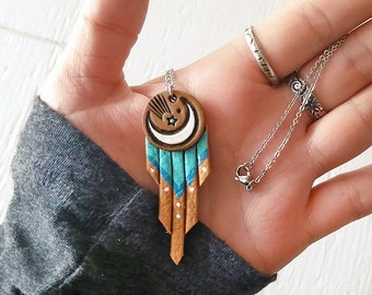Crescent Moon and Shooting Star Fringe Leather Necklace - Handmade and Hand Painted Leather Pendant - Mesa Dreams - Turquoise Southwestern