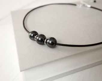 Black leather necklace black glass beads minimalist leather choker necklace for women