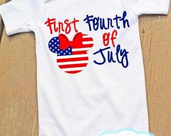 First Fourth of July Bodysuit - Minnie Mouse - Independence Day - 4th of July