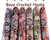 Boye Polymer Clay Covered Crochet Hook, Shabby Chic Paisley Design