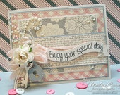 """HANDMADE """"Enjoy Your Special Day"""" Lock & Key Wedding Greeting Card"""