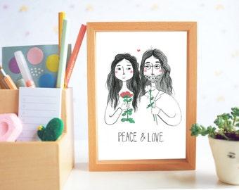 Peace and Love Postcard A6