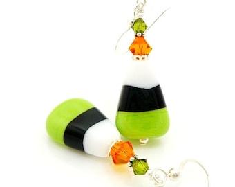 Candy Corn Earrings, Halloween Earrings, Lampwork Earrings, Glass Earrings, Cute Earrings, Halloween Jewelry, Food Earrings