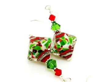 Red and Green Earrings, Lampwork Earrings, Christmas Jewelry, Christmas Earrings, Glass Earrings, Beadwork Earrings, Holiday Earrings
