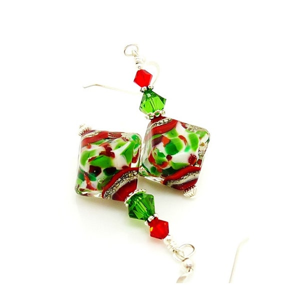 Red and green earrings lampwork christmas jewelry