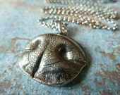 Dog Nose Necklace. Personalized Fine Silver Pendant for a Small Dog with Rollo Sterling Silver Chain.
