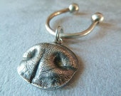 Silver Medium Dog Nose Print Keychain. Personalized with Name for Medium Dog, Silver Dog Jewelry, Gift for Him