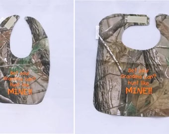 Bet Your Grandma Cant Hunt Like Mine - Small OR Large Baby Bib - orange lettering - FREE Shipping