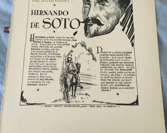 Book page print . Hernando DeSoto the discoverer of the Mississippi River. 7 x11 Great for framing for the collector. History.