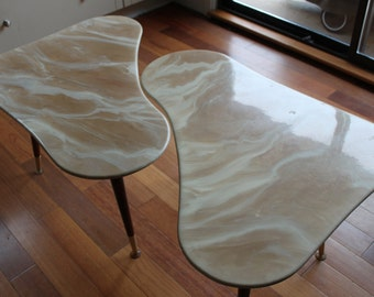 Vintage Marble Kidney Bean Table, 1963, Mid Century Modern, Space Age, 2 Available