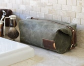 NO. 345 Dopp Kit with Personalized Leather Card Holder, Olive Green Waxed Cotton Canvas and Leather, Toiletry Travel Bag for Men, Grooming