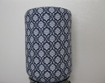 white Damask 5 Gallon Water Decor -Navy Blue and White