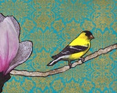 Channing II--2d mixed media goldfinch collage
