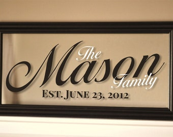 Personalized Picture Frame Family Name Sign Wall Sign 11x21