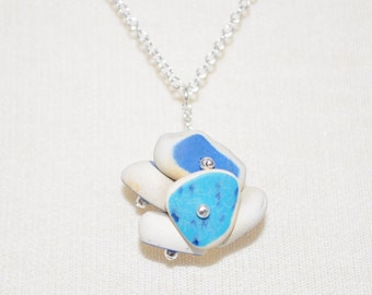 Sea Glass Jewelry Beach Clustered Pottery Necklace Sterling Silver 4323