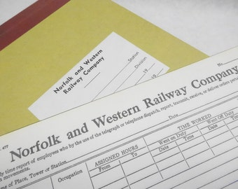Vintage Norfolk And Western Railway Company Ledger Record Paper Book Notebook Pad Receipts Lot Unused Old Stored Stock Ephemera