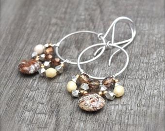 Boho Luxe Gemstone Chandelier Earrings Silver