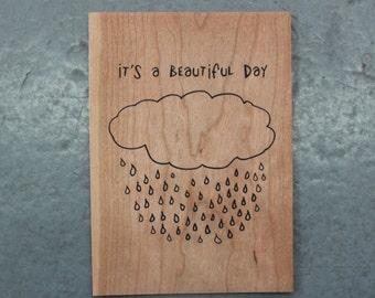 It's a Beautiful Day - Screen print on wood veneer // Sérigraphie sur placage de bois