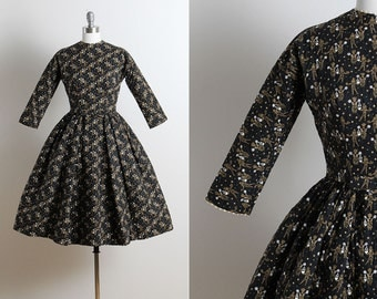 Vintage 50s Dress | vintage 1950s Lanz dress | novelty print dress xs | 5715
