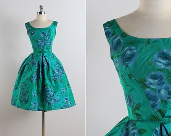 Vintage 50s dress | vintage 1950s dress | blue rose party dress xs | 5783