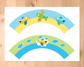 Airplane Blue Green Yellow- Pilot Airplane, Aviation Cupcake Wrappers  - Instant Download  Printable PDF