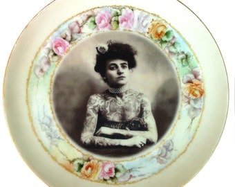 The Tattooed Lady - Altered Vintage Plate 8.6""