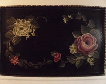 Vintage 1950's/1960's  Hand Painted Tole Tray