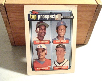 Top Prospects, Baseball Card, Chipper Jones, Alex Arias, Manny Alexander, Wil Cordero, Expos, Vintage Topps Card, MLB Card, Baseball Rookies