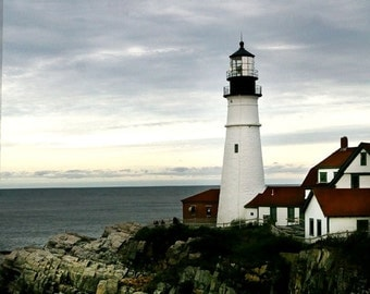 Lighthouse photo,  coastal decor, nautical decor, Maine lighthouse photo