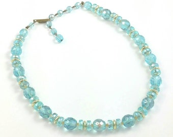 Aqua Blue Faceted Glass Choker Necklace Unsigned