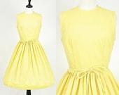 SALE 50s Sundress, Vintage 1950s Cotton Dress, Yellow Dotted Swiss Dress Medium 50s Dress
