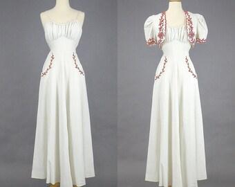 1930s Maxi Dress & Bolero, 30s Dress, 1930s Cotton Dress, 30s Summer Dress, Red and White Day Dress