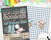 Twins Cowboy or Cowgirl Birthday Party Invitation, Printable Invitation, Typography, Cowboy Boots and Hat, Digital or Printed Invitation