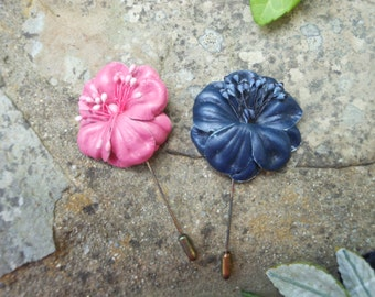 Vintage leather leather flower lapel pin, pink or blue