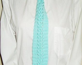 Unique crochet necktie in mint necktie gift for men, husband, dad, groom, boyfriend, groomsmen gift