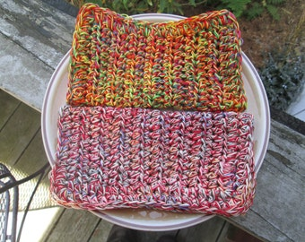 Kitchen or Bath Cloths by SuzannesStitches,  Crochet Washcloth Set of 2, Cotton Washcloth, Cotton Dish Cloth, Crochet Dishcloth, Dishcloth