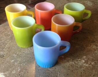 Vintage Fire King Glass Stacking Coffee Mug Set of 6 Blue Brown Green Reddish Orange