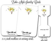 Earring Cards, Boho Style, Custom Earring Cards, Southwest Design, 2x3 Inch Cards 24, Jewelry Display, Necklace cards, Skull and Sunflowers