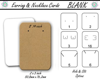 Blank Earring Cards, Jewelry Display Cards, Blank, Earring Holders, Card Display, Jewelry Holders, 2x3 inch