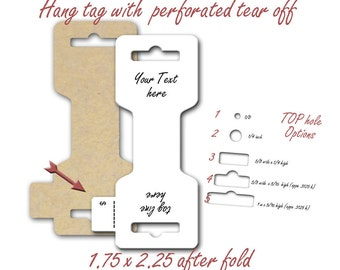 Fold Over hang Tag, Necklace Hang Card, Jewelry Display, Perforated Price Tag, Tear Off Price Tag