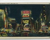 Times Square At Night New York City NYC NY 1940s linen postcard