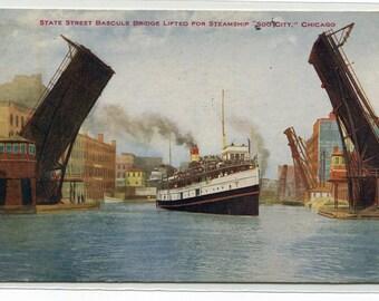 Steamer Soo City Ship State Street Bascule Bridge Chicago Illinois 1919 postcard